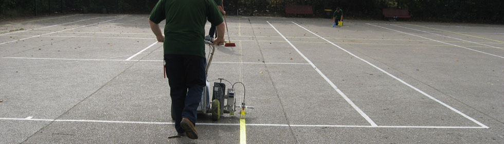Tennis court line marking